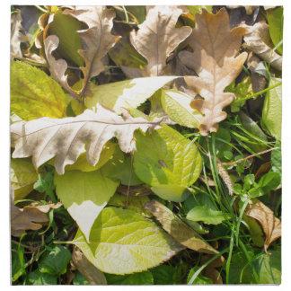 Fallen autumn leaves on green grass lawn napkin