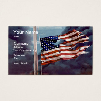 Fallen But Not Forgotten Smoke and Torn Flag Business Card
