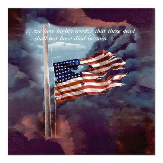 Fallen But Not Forgotten Smoke and Torn Flag Card