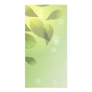 Fallen Green Leaves Custom Photo Card