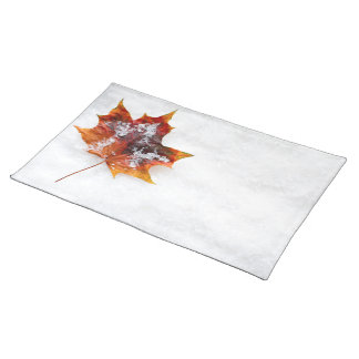Fallen Leaf in the Snow Cloth Place Mat