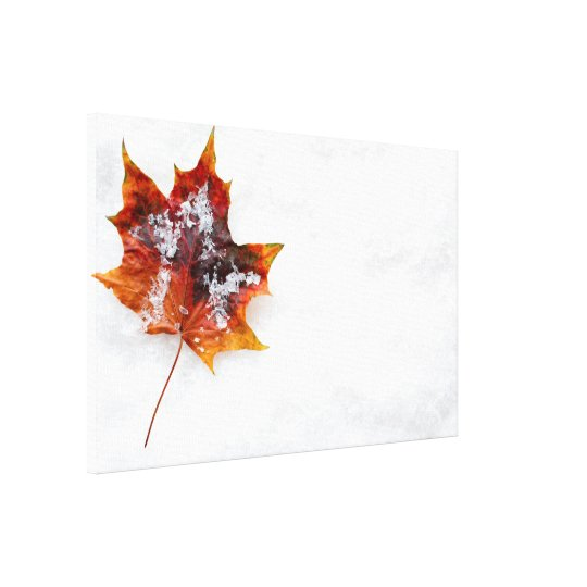Fallen Leaf in the Snow Wrapped Canvas