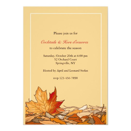 Fallen Leaves of Autumn Invitation