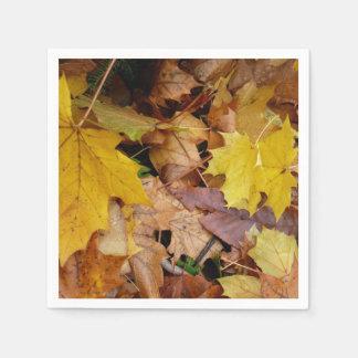 Fallen Maple Leaves Yellow Autumn Nature Paper Napkins
