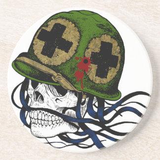 Fallen Soldier Skull Beverage Coaster