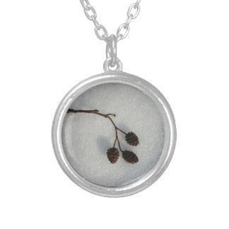 fallen twig silver plated necklace