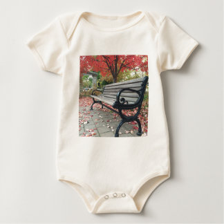 Falling Benches and Sitting Leaves Baby Bodysuit