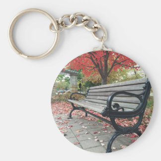 Falling Benches and Sitting Leaves Basic Round Button Keychain