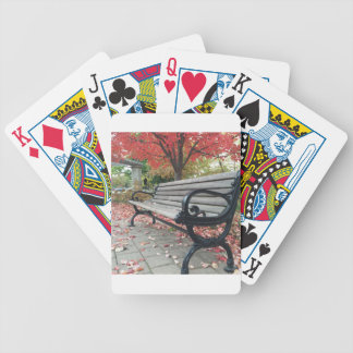 Falling Benches and Sitting Leaves Bicycle Playing Cards