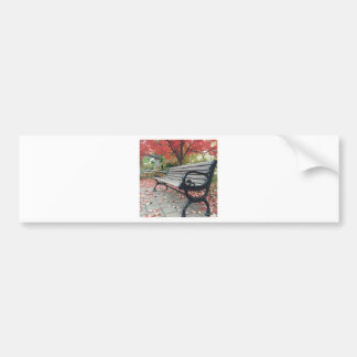 Falling Benches and Sitting Leaves Bumper Sticker