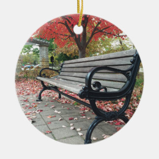 Falling Benches and Sitting Leaves Round Ceramic Ornament