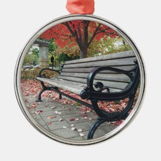 Falling Benches and Sitting Leaves Silver-Colored Round Ornament