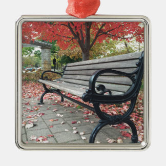 Falling Benches and Sitting Leaves Silver-Colored Square Ornament