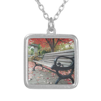 Falling Benches and Sitting Leaves Silver Plated Necklace