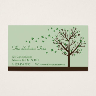 Falling Blossoms - Green Business Card