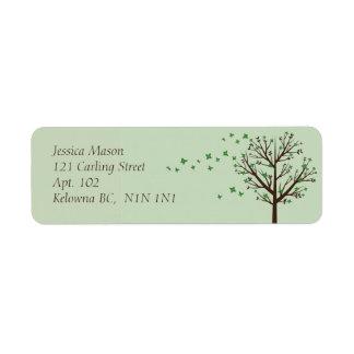 Falling Blossoms - Green Return Address Label