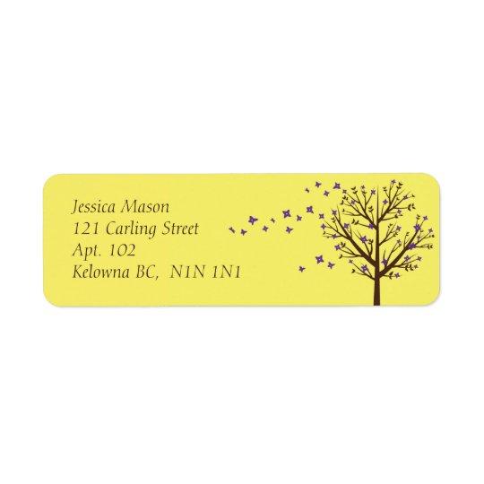 Falling Blossoms - Yellow Return Address Label