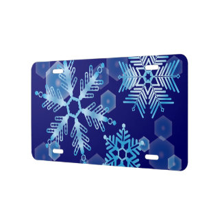Falling Blue Snowflakes License Plate