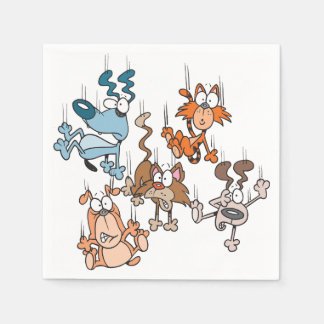 Falling Cats And Dogs Paper Napkins