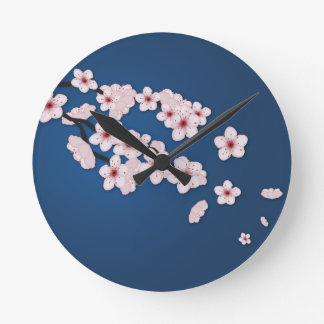 Falling Cherry Blossoms Round Clock