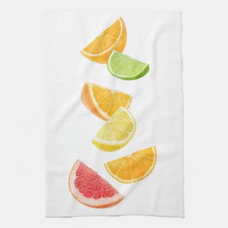 Falling citrus slices kitchen towel