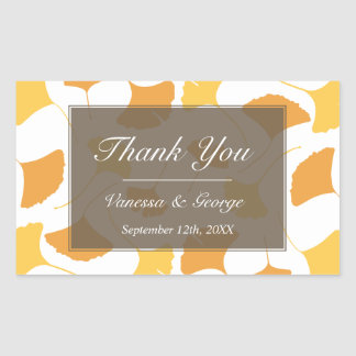 Falling ginkgo leaves gray wedding gift bag tag