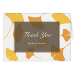 Falling ginkgo leaves grey couple thank you note note card