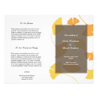 Falling ginkgo leaves grey golden wedding program flyers