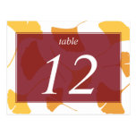 Falling ginkgo leaves maroon table number card