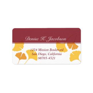 Falling ginkgo leaves yellow maroon return address label