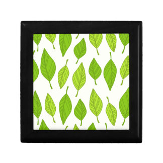 falling green leaves gift box