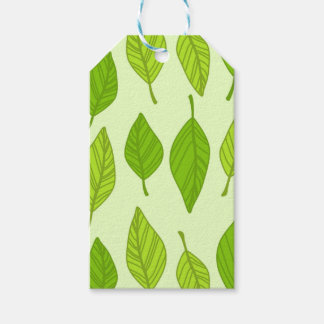 falling green leaves gift tags