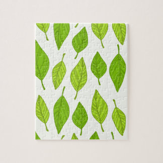 falling green leaves jigsaw puzzle