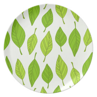 falling green leaves party plate