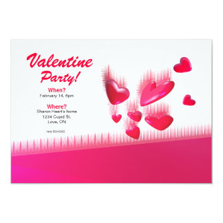"""Falling Hearts Valentine's Day Party 5"""" X 7"""" Invitation Card"""