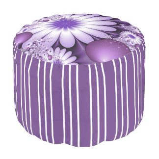 Falling in Love Abstract Flowers & Hearts Fractal Pouf