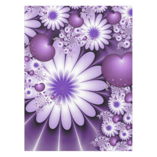 Falling in Love Abstract Flowers & Hearts Fractal Tablecloth