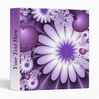 Falling in Love Flowers & Hearts Personalized Vinyl Binder