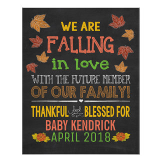Falling in Love Pregnancy Announcement Poster