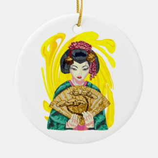 Falling in Love with the Geisha Girl Ceramic Ornament