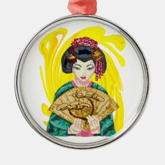 Falling in Love with the Geisha Girl Metal Ornament