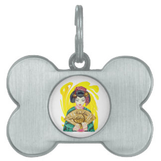 Falling in Love with the Geisha Girl Pet ID Tag