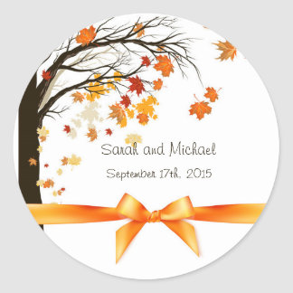 Falling Leaves Fall Autumn Wedding Envelope Seals Round Sticker