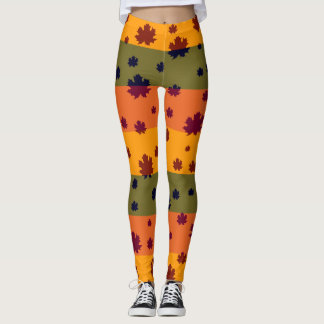 Falling leaves in autumn leggings