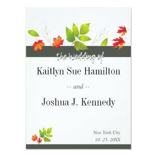 Falling Leaves Maple Oak Wedding Card