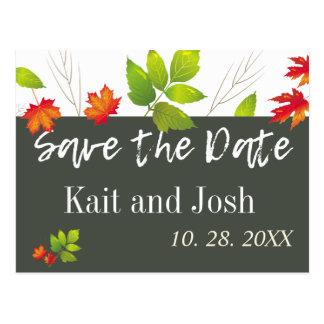 Falling Leaves Maple Oak Wedding Save the Date Postcard