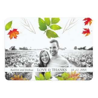 Falling Leaves Maple Oak Wedding Thank You Card