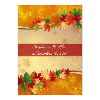Falling Maple Leaves Wedding Invitation