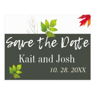Falling Oak Leaves Maple Wedding Save the Date Postcard