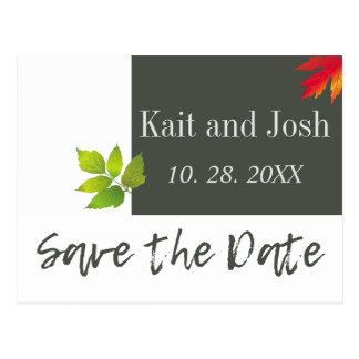 Falling Oak Maple Leaves Autumn Save the Date Postcard